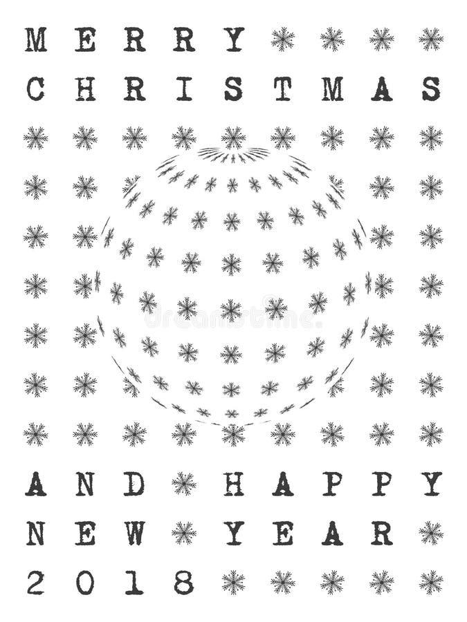 圣诞快乐和新年快乐2018年贺卡 库存例证