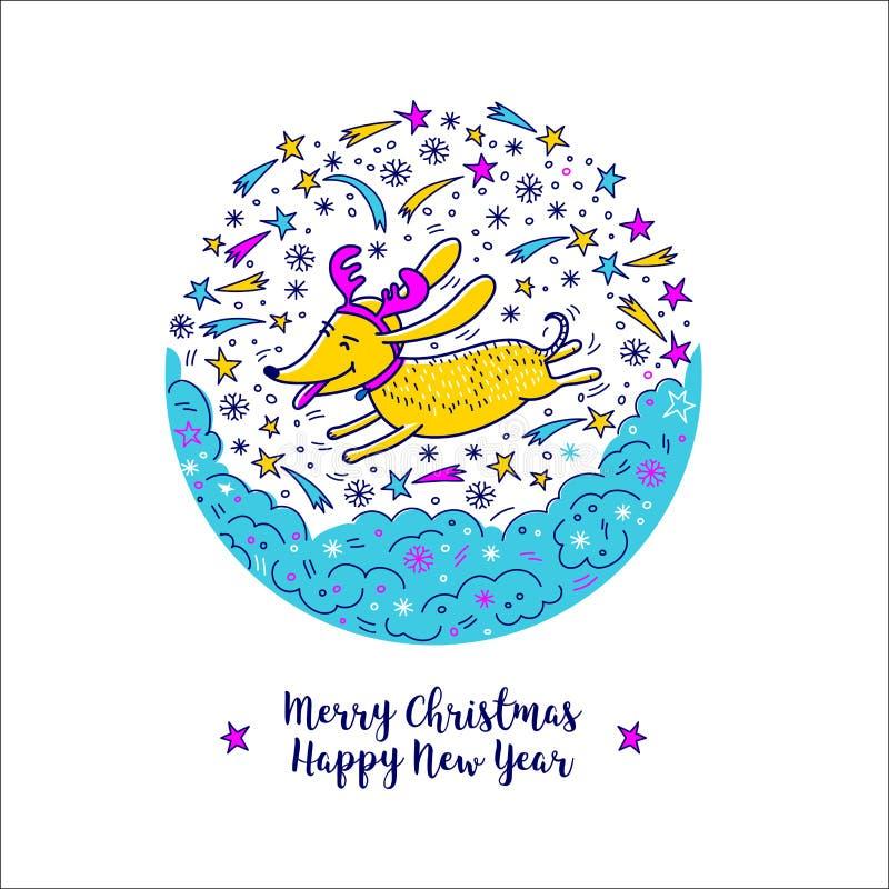 圣诞快乐和新年快乐2018年,狗标志 传染媒介手拉的乱画 皇族释放例证