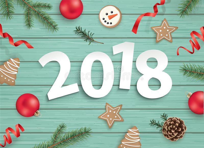 圣诞快乐和新年快乐2018年! 向量例证