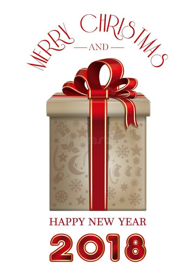 圣诞快乐和新年快乐2018年 皇族释放例证