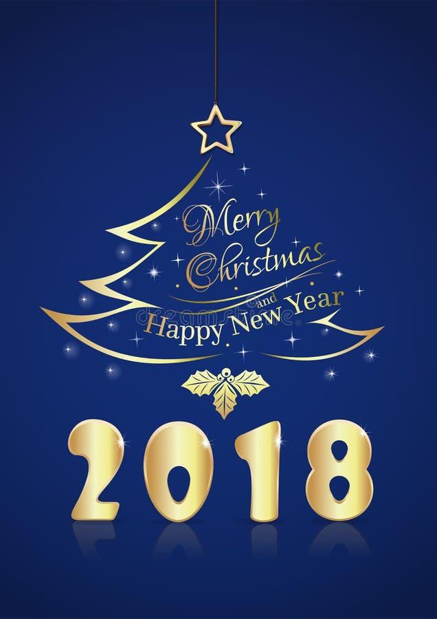 圣诞快乐和新年快乐2018年 库存例证
