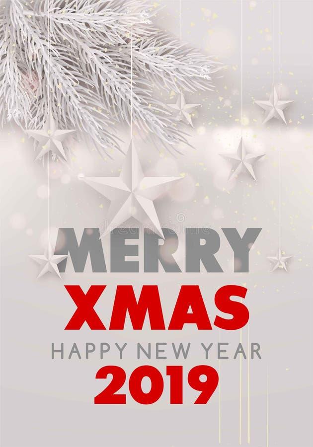 圣诞快乐和新年快乐2019白色多雪的海报与毛皮树枝和星 库存例证