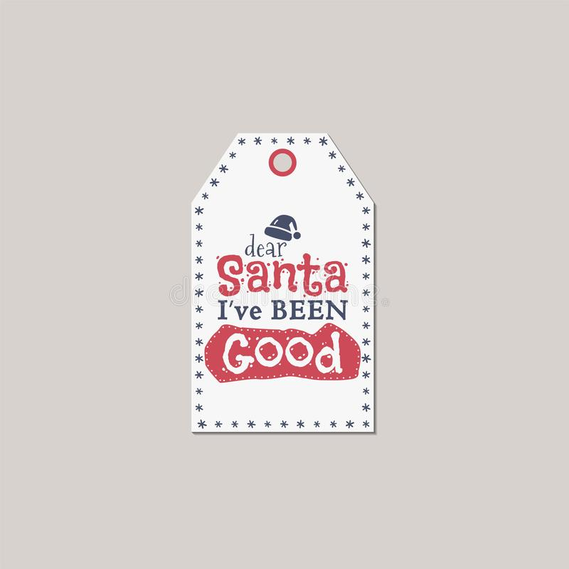 圣诞快乐和新年礼物标记 假日与xmas标志的卡片概念-圣诞老人帽子和印刷术引述-圣诞老人我 皇族释放例证