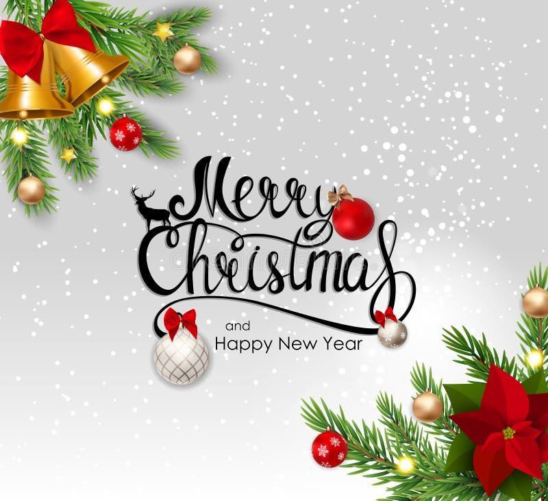 圣诞快乐和新年背景 也corel凹道例证向量 向量例证