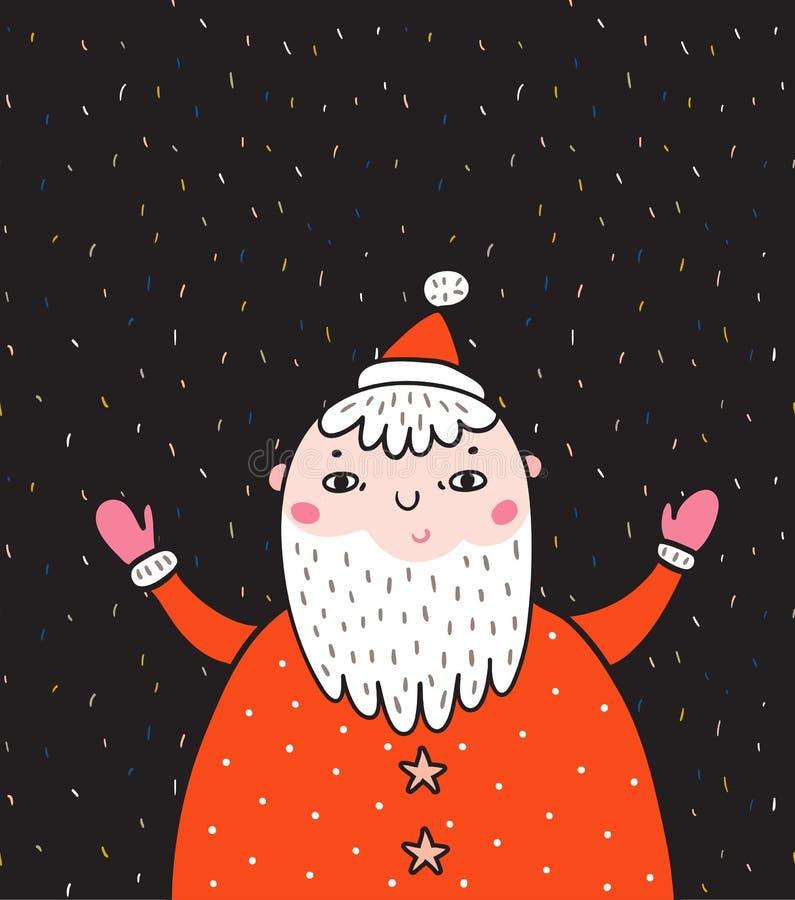 圣诞快乐和新年卡片与圣诞老人 传染媒介在五彩纸屑背景的假日例证 向量例证