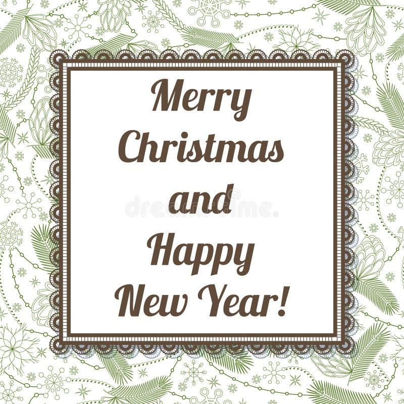 圣诞快乐和新年好卡片在锥体样式 皇族释放例证