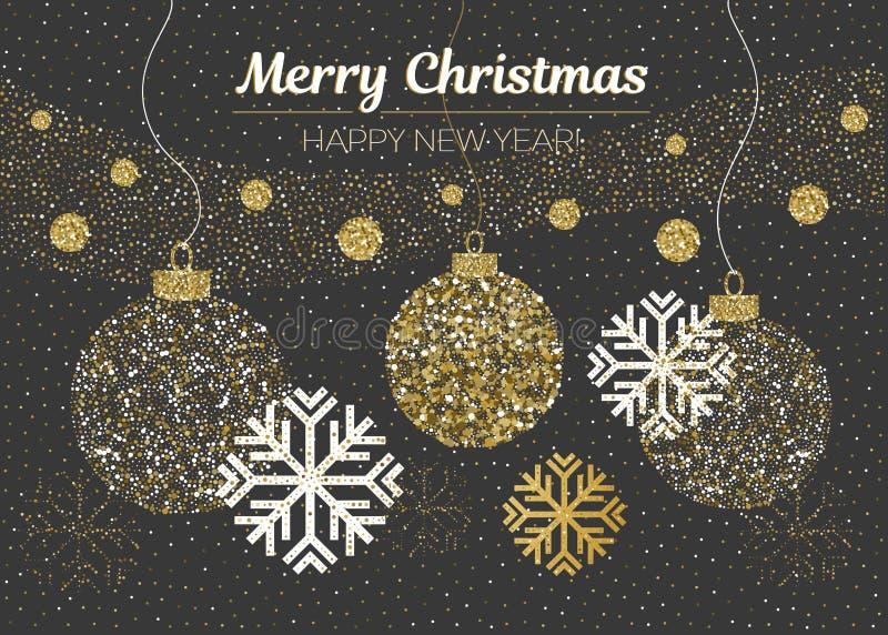 圣诞快乐和新年好卡片 导航金黄闪烁的圣诞节球,雪,在黑背景的雪花 库存例证