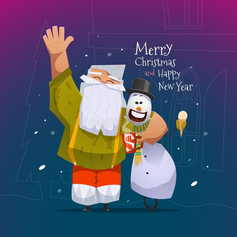 圣诞快乐和新年好卡片 向量例证