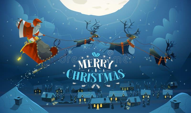 圣诞快乐和新年好卡片 库存例证