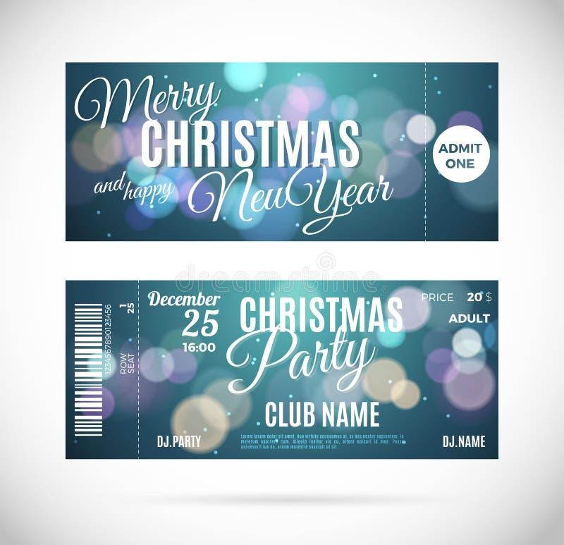 圣诞快乐和新年好票设计,导航例证 库存例证