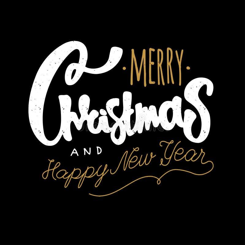 圣诞快乐和新年好 手凹道字法葡萄酒减速火箭织地不很细 免版税图库摄影