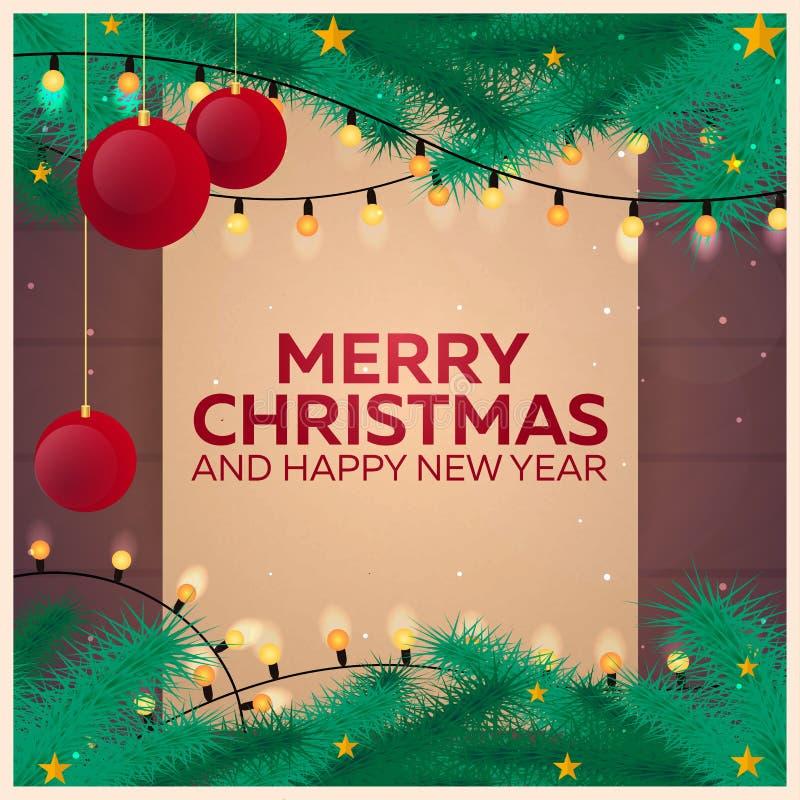 圣诞快乐和新年好 老纸葡萄酒 葡萄酒圣诞节背景,木纹理,传染媒介例证 皇族释放例证