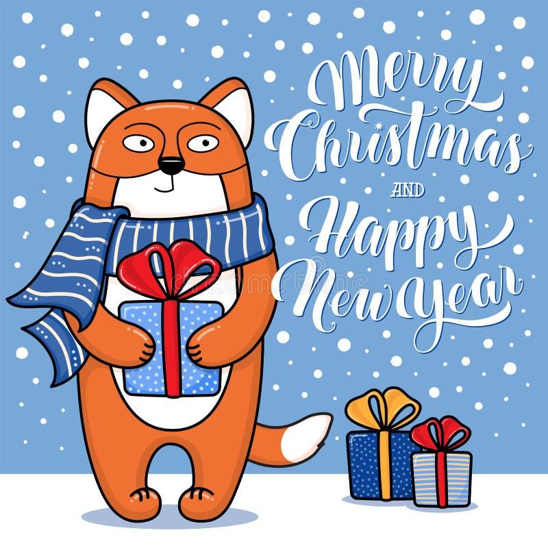 圣诞快乐和新年快乐与狐狸,礼物,雪和字法,动画片传染媒介例证的贺卡图片