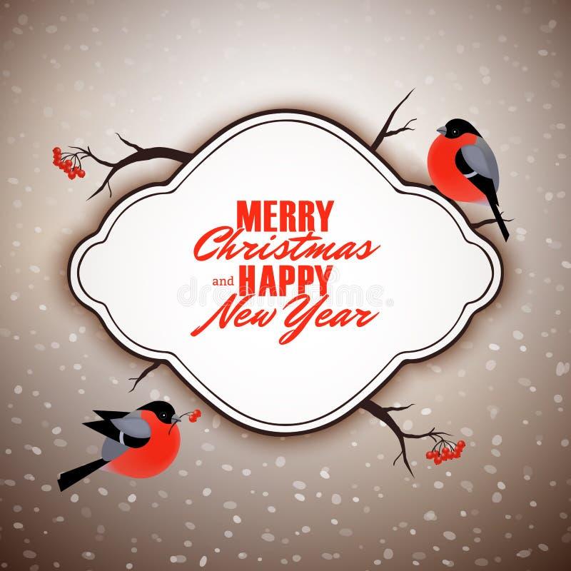 圣诞快乐和新年快乐传染媒介明信片设计,逗人喜爱的红腹灰雀鸟 皇族释放例证