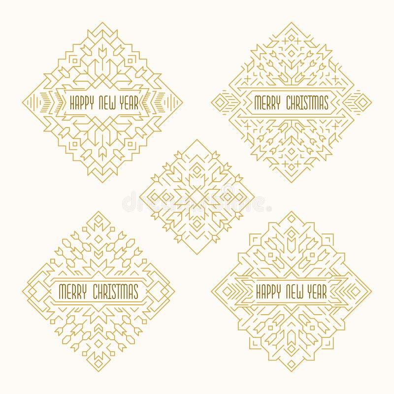 圣诞快乐和新年快乐徽章 在概述样式的装饰框架 皇族释放例证
