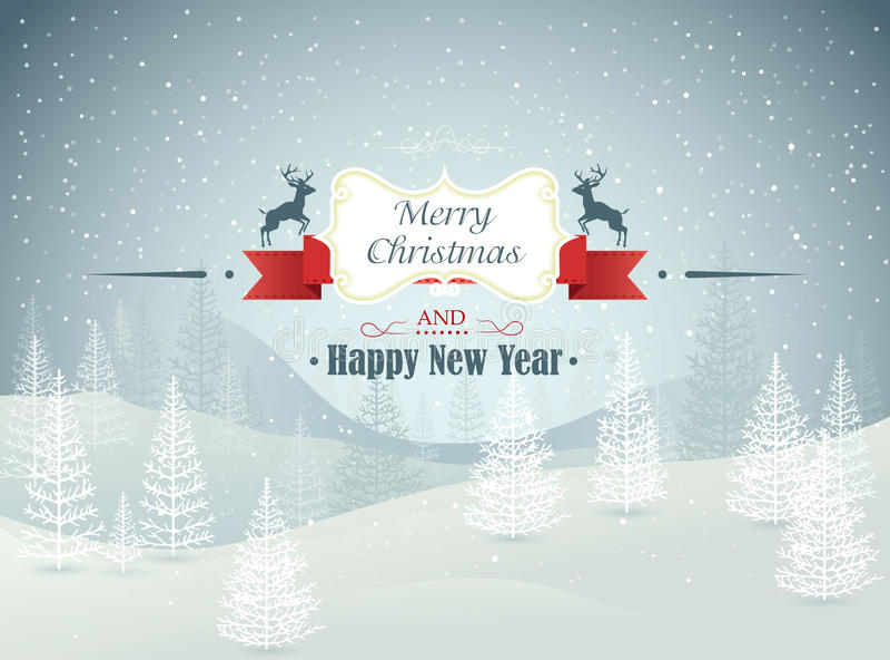 圣诞快乐和新年快乐森林冬天环境美化与降雪传染媒介 库存例证