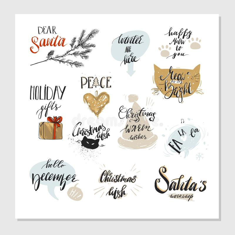 圣诞快乐和新年快乐被设置的印刷术设计 也corel凹道例证向量 皇族释放例证