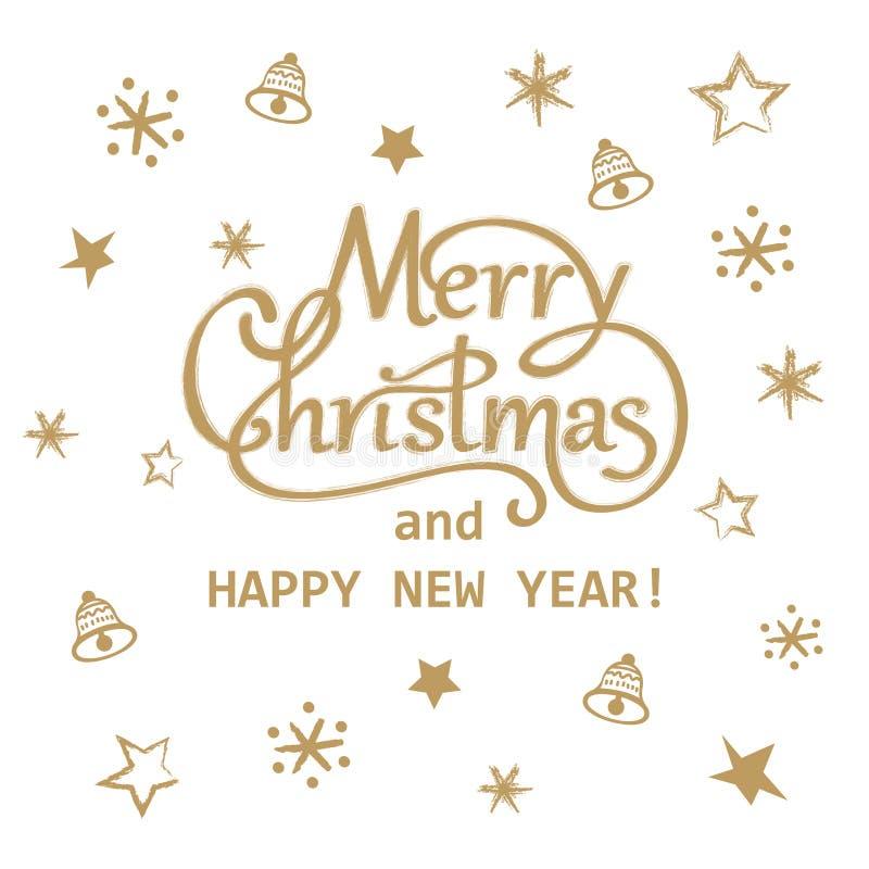 圣诞快乐和新年快乐金黄手拉的字法贺卡设计 皇族释放例证