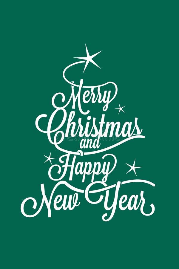 圣诞快乐和新年快乐问候明信片 向量例证