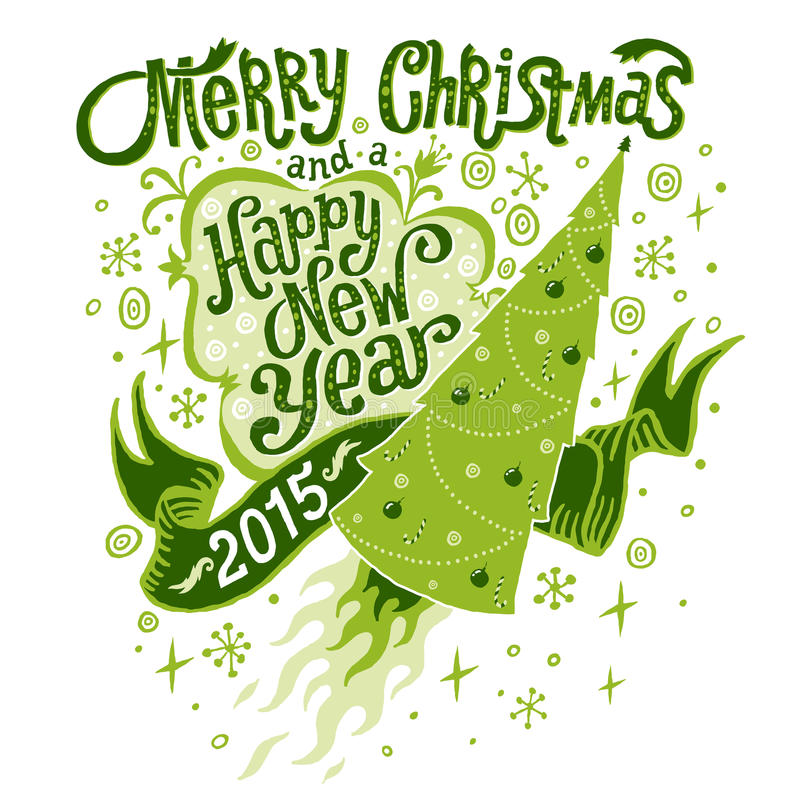 圣诞快乐和新年快乐2015年与Handlettering印刷术的贺卡 向量例证