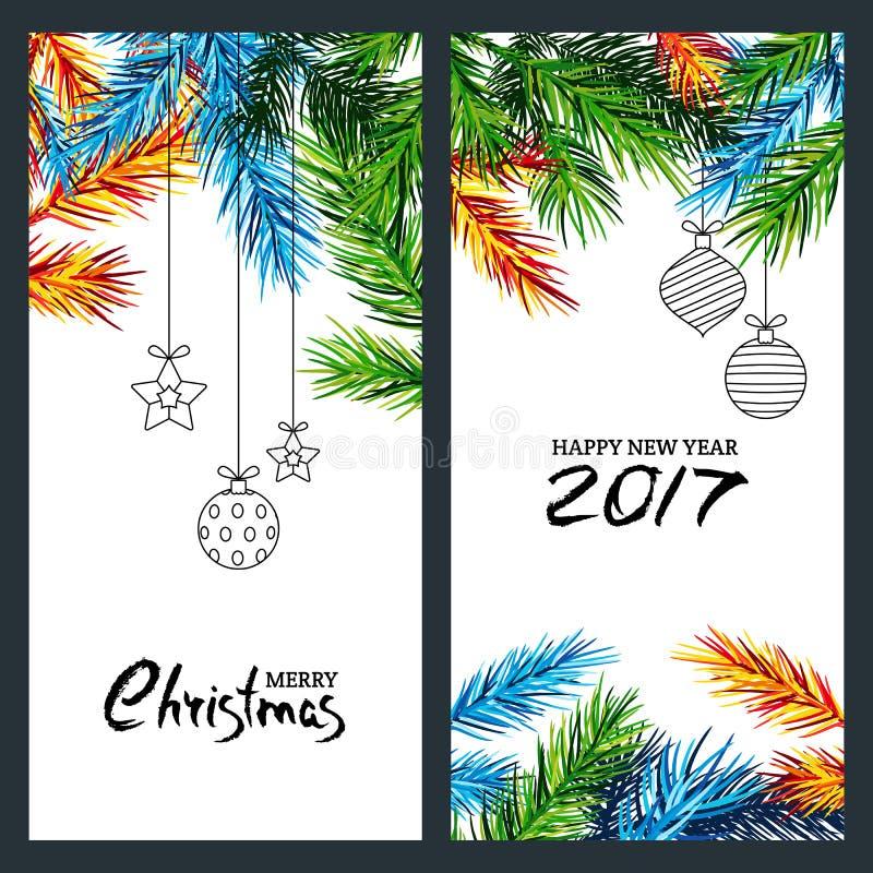 圣诞快乐和新年快乐2017年 套横幅、飞行物或者海报与多色冷杉分支 向量例证
