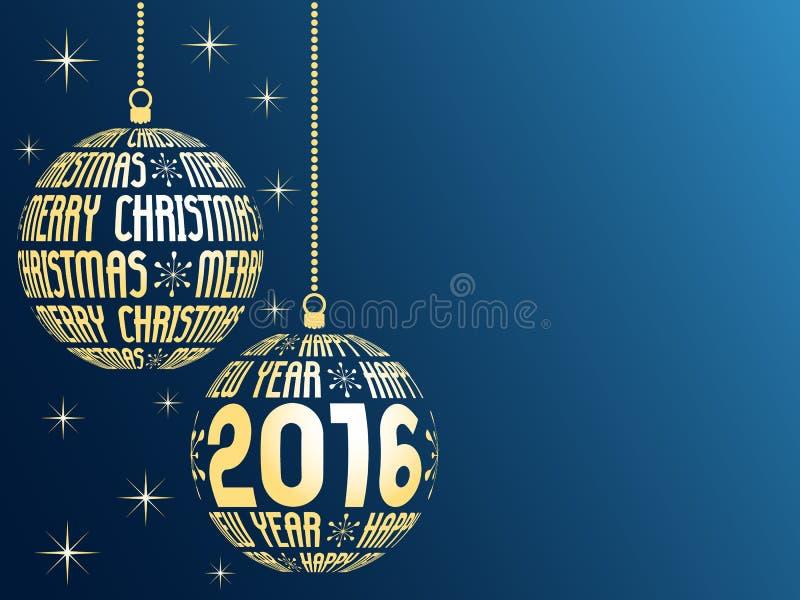 圣诞快乐和新年快乐2016年 库存例证