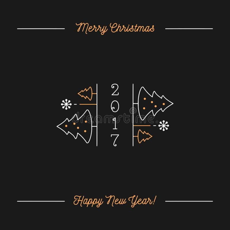 圣诞快乐和新年快乐Minimalistic假日贺卡 皇族释放例证