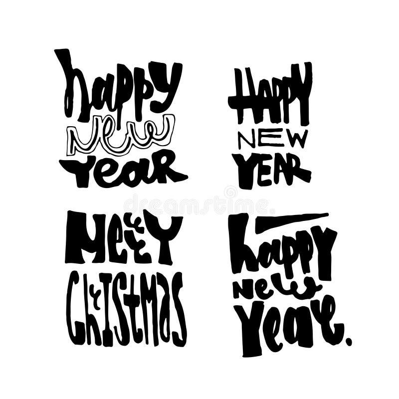 圣诞快乐和新年手拉的字法收藏 提取空白背景蓝色按钮颜色光滑的例证查出的对象被设置的盾发光的向量 免版税库存照片