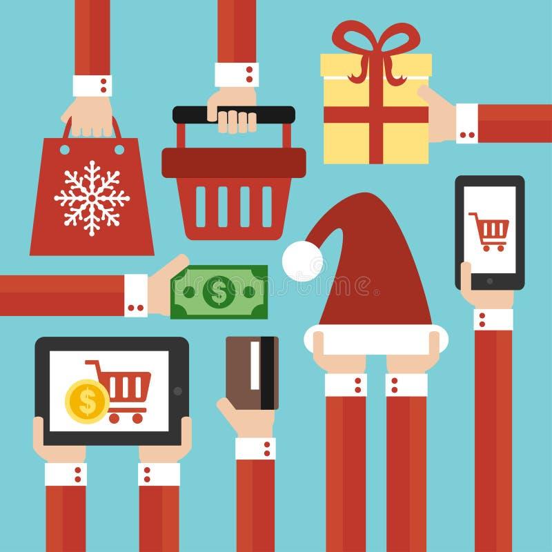 圣诞快乐和新年销售现代平的设计 库存例证