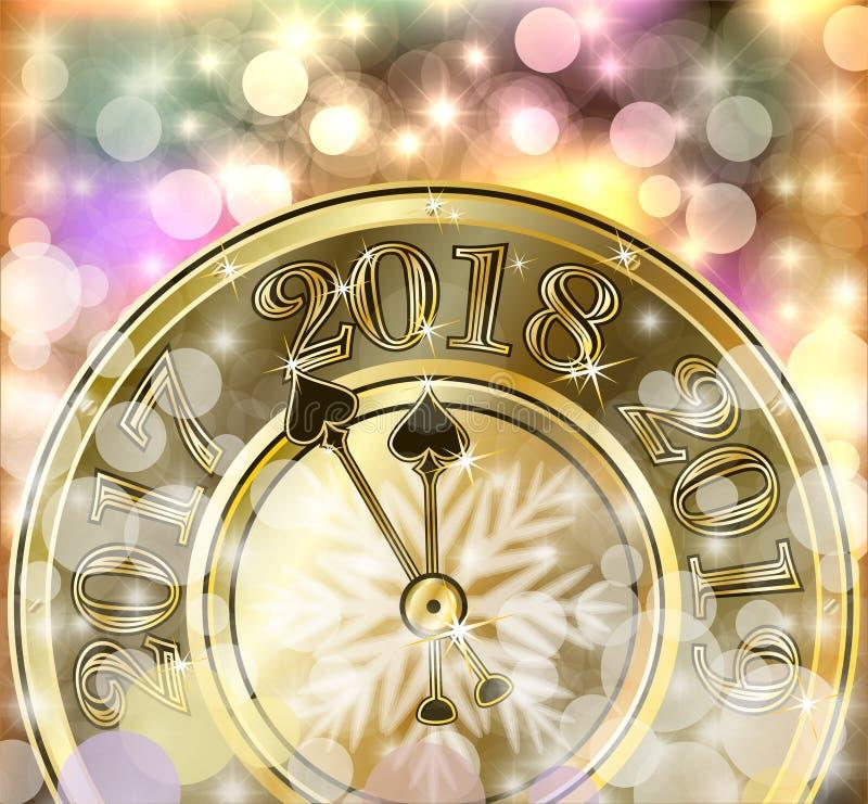 圣诞快乐和2018新年金黄横幅 向量例证