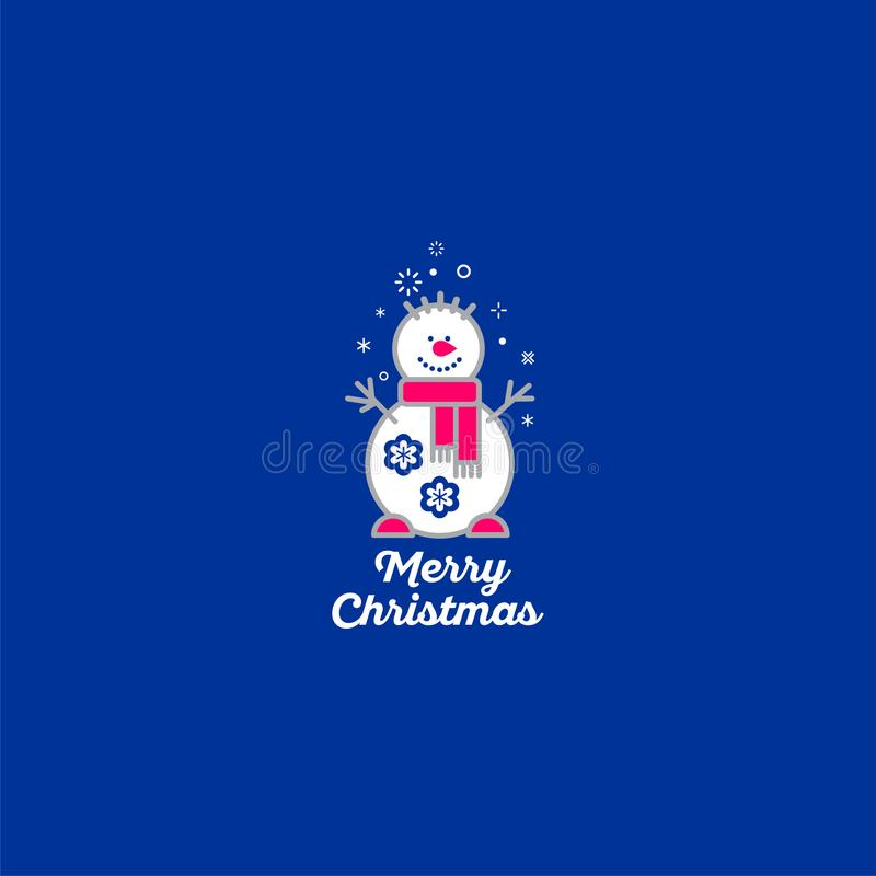 圣诞快乐图标 雪人和雪花在蓝色背景中 皇族释放例证