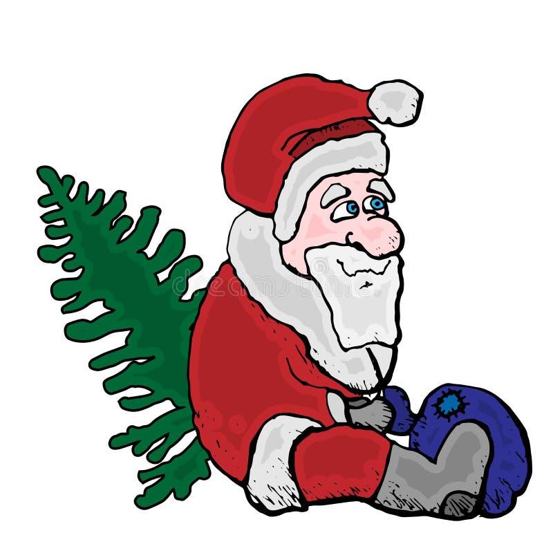 圣诞快乐圣诞老人坐与圣诞树和袋子 网站或明信片的传染媒介象 向量例证