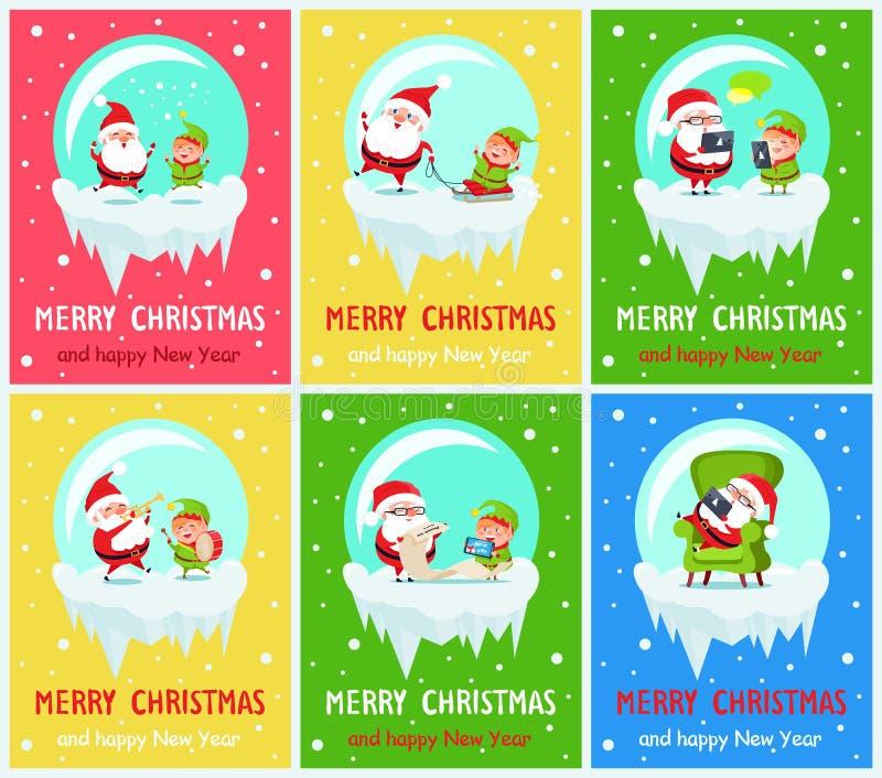 圣诞快乐圣诞老人帮手传染媒介例证 库存例证