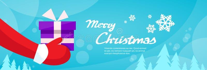 圣诞快乐圣诞老人手举行礼物盒 向量例证
