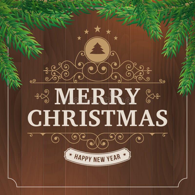 圣诞快乐在木背景的葡萄酒线艺术 向量例证