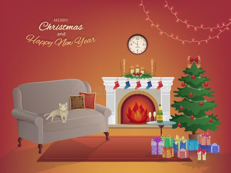 圣诞快乐在红色背景的室内部与壁炉,圣诞树,长沙发,礼物盒,壁钟 蜡烛袜子 皇族释放例证