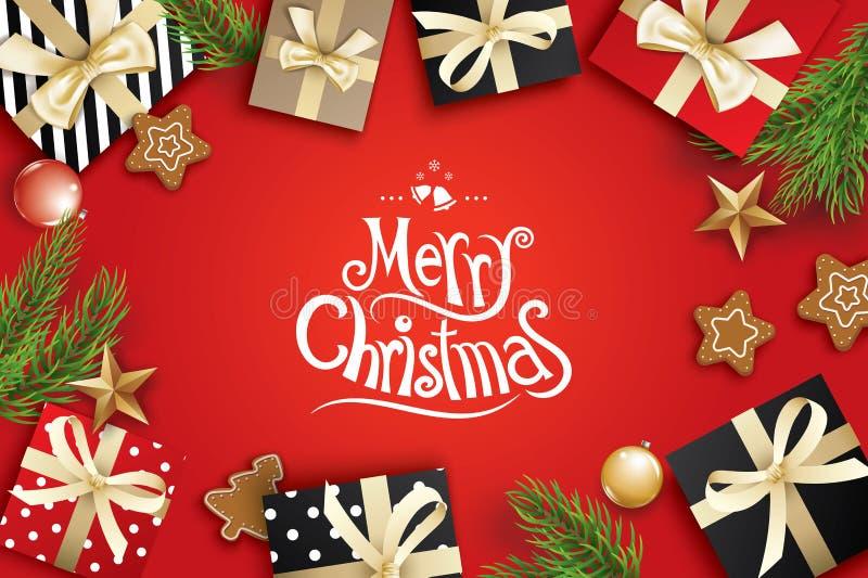 圣诞快乐在红色背景的贺卡框架 传染媒介与冷杉分支和礼物的例证装饰 横幅的用途, 皇族释放例证