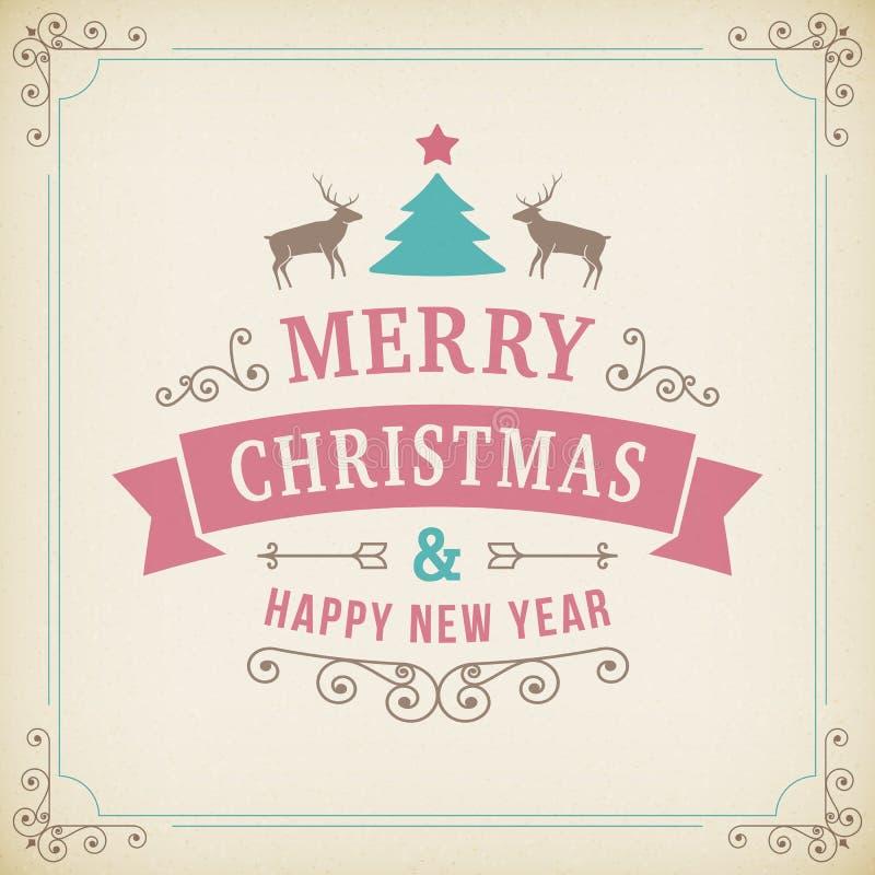 圣诞快乐在纸背景的葡萄酒装饰品 皇族释放例证