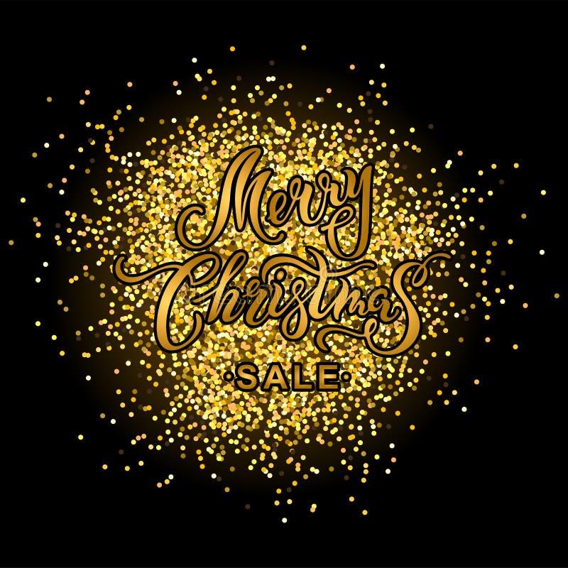 圣诞快乐在黑背景的销售横幅与金黄五彩纸屑 向量例证