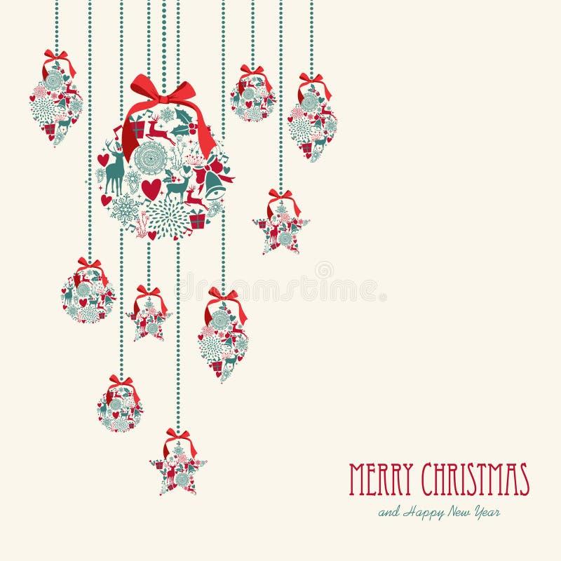 圣诞快乐垂悬的元素装饰混合涂料 库存例证