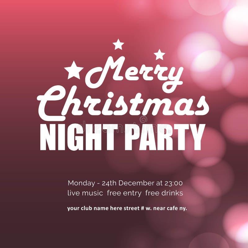 圣诞快乐夜党发光的背景 库存例证