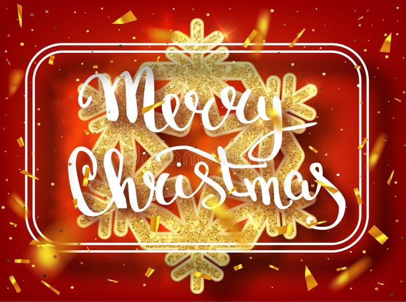 圣诞快乐字法贺卡为假日 金子发光 与与雪花样式的装饰装饰品 金黄confett 免版税库存图片