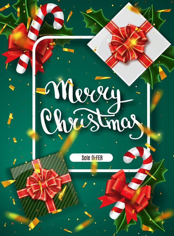 圣诞快乐字法贺卡为假日 金子发光 与与雪花样式的装饰装饰品 金黄confett 免版税库存照片