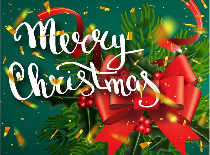 圣诞快乐字法贺卡为假日 金子发光 与与雪花样式的装饰装饰品 金黄confett 皇族释放例证