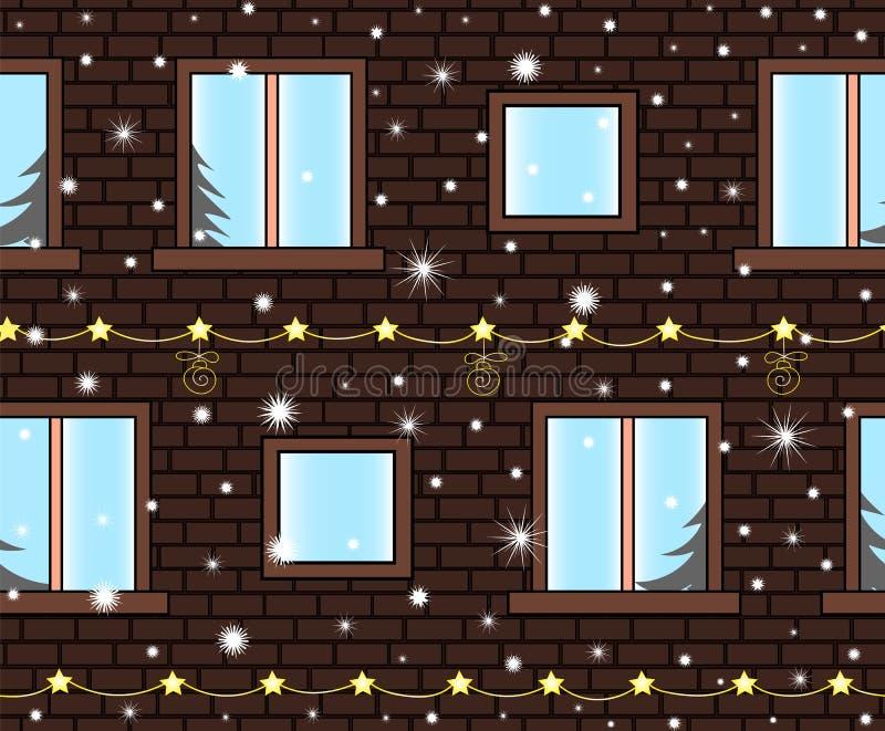 圣诞快乐导航与大厦墙壁的无缝的背景有装饰的窗口、雪花和诗歌选的 向量例证