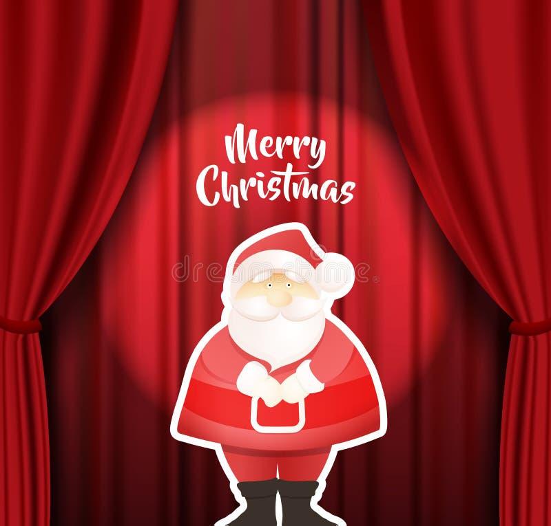 圣诞快乐导航与身分圣诞老人项目的例证在阶段和红色帷幕背景在他后 向量例证