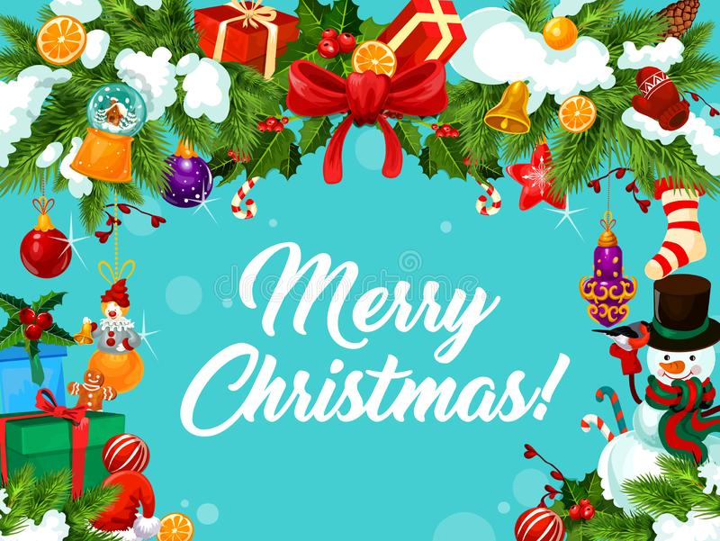 圣诞快乐愿望装饰品传染媒介贺卡 库存例证