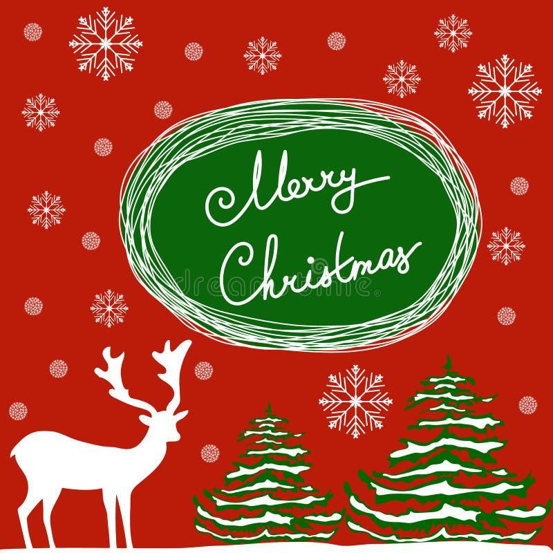 圣诞快乐手书法字法 看板卡日问候使母亲s向量现虹彩 白色鹿绿色冷杉木拂去了灰尘与雪剥落 红色backgro 向量例证
