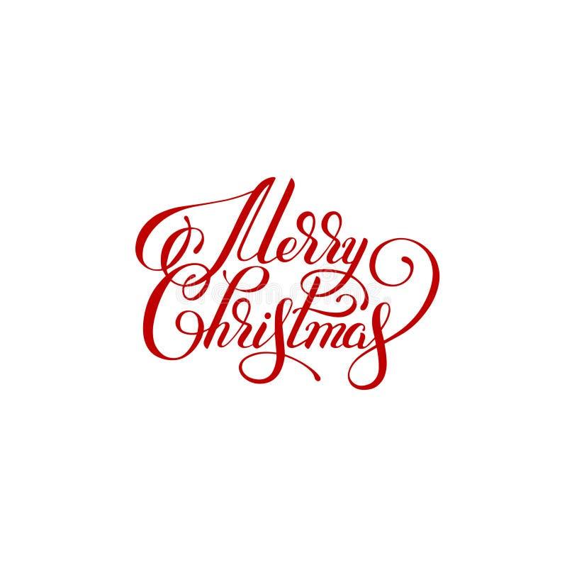 圣诞快乐手写的字法文本题字假日p 向量例证