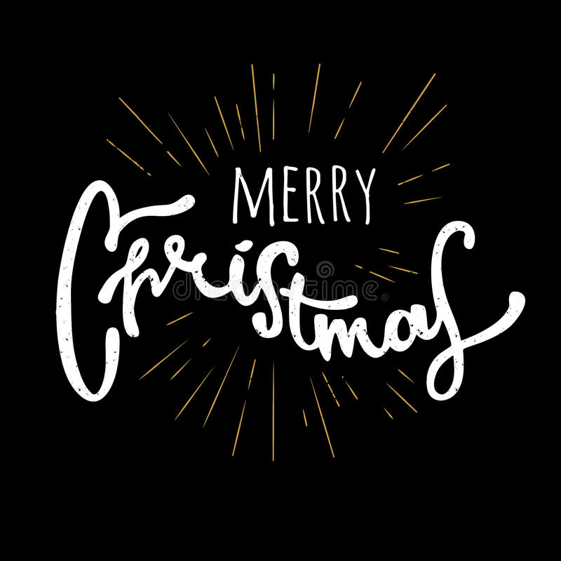 圣诞快乐手拉的减速火箭的设计 现代书法和刷子字法 葡萄酒减速火箭织地不很细 库存图片